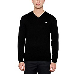 Fred Perry - Black V-Neck Wool Jumper