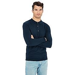 Jacamo - Navy long sleeve knitted polo shirt