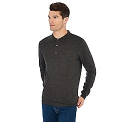 Jacamo - Grey long sleeve knitted polo shirt