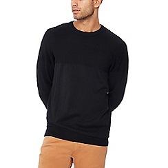 Jacamo - Black textured panel cotton jumper