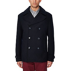Ben Sherman - Navy wool blend pea coat