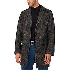 Jacamo - Dark grey herringbone coat with wool