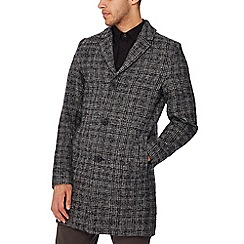 Jacamo - Dark grey checked coat with wool