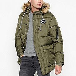 Hype - Khaki padded faux fur trim coat