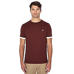 Fred Perry - Dark red contrast trim 'Ringer' t-shirt