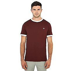 Fred Perry - Burgundy embroidered logo 'Ringer' t-shirt