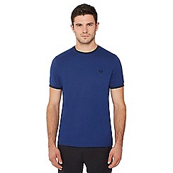 Fred Perry - Blue embroidered logo tipped t-shirt