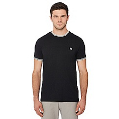 Fred Perry - Black embroidered logo tipped t-shirt