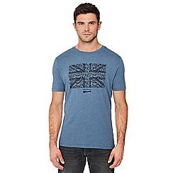 Ben Sherman - Blue 'Keith Moon' union jack print cotton t-shirt