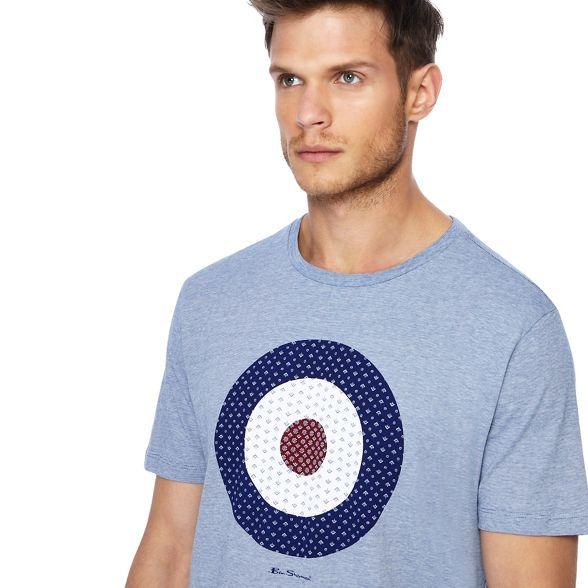 print target blue Sherman Ben Big shirt dark t tall striped and X00wx8