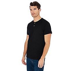 Jacamo - Black grandad collar cotton t-shirt