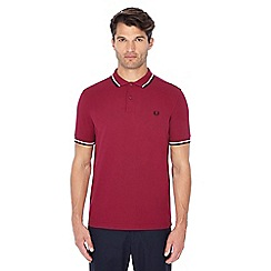 Fred Perry - Wine red embroidered logo polo shirt