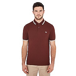 Fred Perry - Brown tipped embroidered logo polo shirt