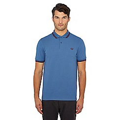 Fred Perry - Mid blue tipped embroidered logo polo shirt