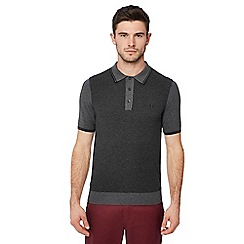 Fred Perry - Grey knitted cotton polo shirt