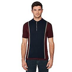 Ben Sherman - Maroon stripe knitted cotton polo shirt