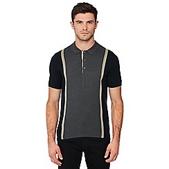 Ben Sherman - Black stripe knitted cotton polo shirt