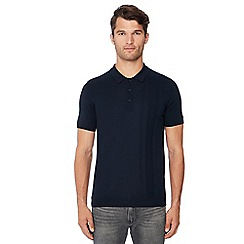 Ben Sherman - Navy knitted cotton polo shirt