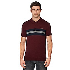 Ben Sherman - Maroon chest stripe knitted cotton polo shirt