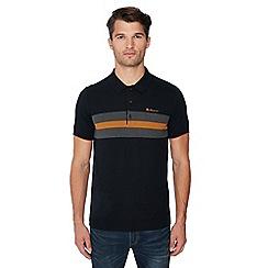 Ben Sherman - Black chest stripe knitted cotton polo shirt