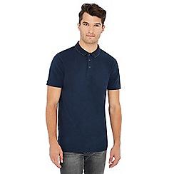 Jacamo - Navy tipped cotton rich polo shirt
