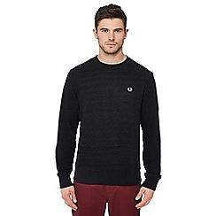 Fred Perry - Black pique textured sweatshirt