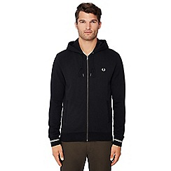Fred Perry - Black logo embroidered hooded sweatshirt