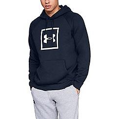 Under Armour - Blue 'UA Rival Fleece' logo hoodie
