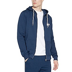 Hype - Navy logo print zip through hoodie