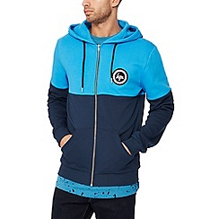 Hype - Blue colour block zip through hoodie
