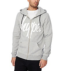 Hype - Grey logo zip through hoodie