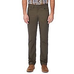 Ben Sherman - Khaki corduroy 'Bedford' straight fit trousers