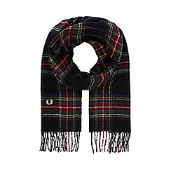 Fred Perry - Black tartan wool scarf