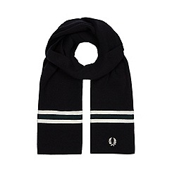 Fred Perry - Navy striped trim wool scarf