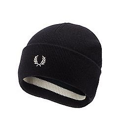 9b097050c58 Fred Perry - Navy striped embroidered logo wool beanie hat