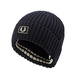 Fred Perry - Navy ribbed beanie hat