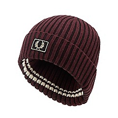 Fred Perry - Dark red ribbed beanie hat