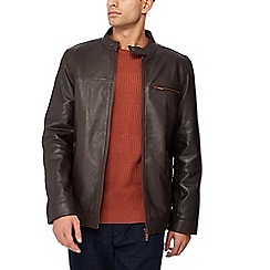 Barneys & Taylor - Big and tall dark brown leather biker jacket