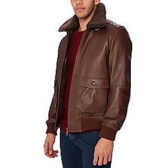 Barneys & Taylor - Dark brown leather flight jacket