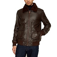 Barneys & Taylor - Big and tall dark brown leather flight jacket