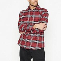 Jacamo - Maroon Checked Long Sleeve Regular Fit Shirt