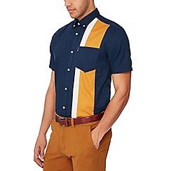 Ben Sherman - Navy stripe panel short sleeves regular fit Oxford shirt
