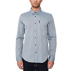 Ben Sherman - Navy twisted textured long sleeve regular fit shirt