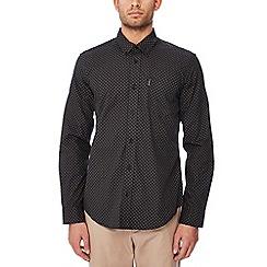 Ben Sherman - Black geometric print cotton long sleeve regular fit shirt