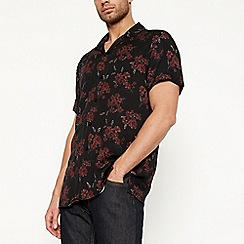Jacamo - Black floral short sleeve shirt