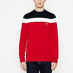 Fred Perry - Navy Colour Block Knit Jumper