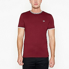 Fred Perry - Wine red tipped cotton t-shirt
