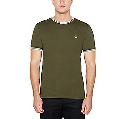 Fred Perry - Khaki Tipped Cotton T-Shirt