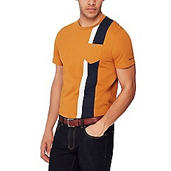 Ben Sherman - Yellow stripe panel cotton t-shirt
