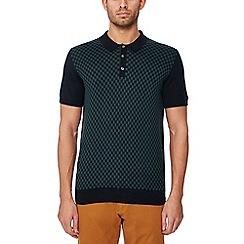 32c7642d Ben Sherman - Big and tall black checked knit cotton polo shirt